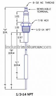 Combustion Depot CD6028-SPECIAL Aftermarket Flame Rod 1/2-14NPT